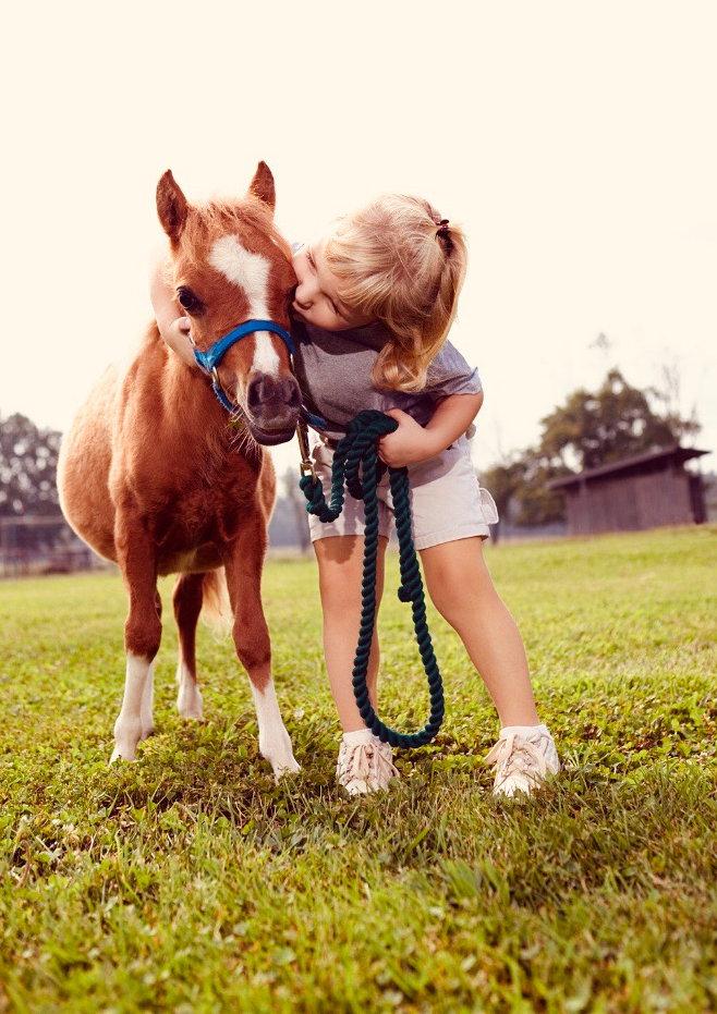 Baby poney et un enfant
